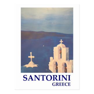 Santorini Greece view from Oia Vintage style Postcard