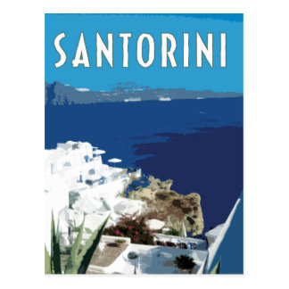 Santorini Greece vintage travel style Postcard