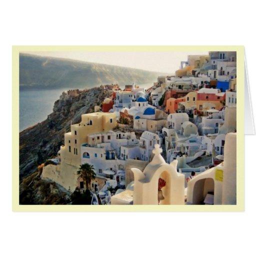 Santorini Greek Island Blue and White Houses Greeting Card