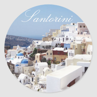 Santorini island Greece Classic Round Sticker