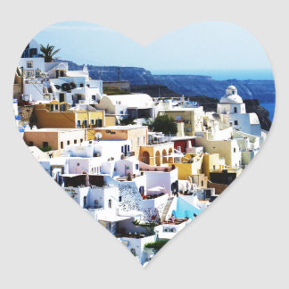 Santorini Island in Greece PHOTO Heart Sticker