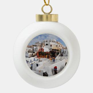 Santorini Island (Thira), Greece Ceramic Ball Christmas Ornament