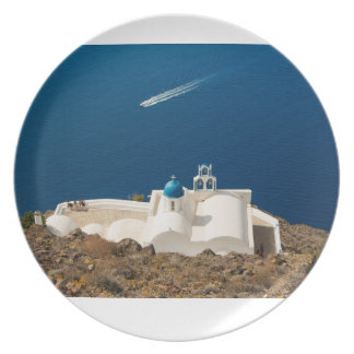Santorini - little white church with blue dome party plates