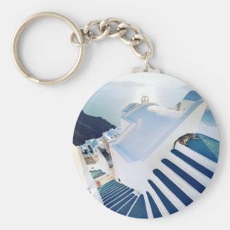 Santorini Oia Steps, Greece Basic Round Button Key Ring