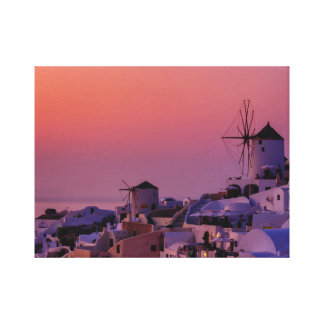 Santorini Oia Village at Sunset - Greece Canvas Print