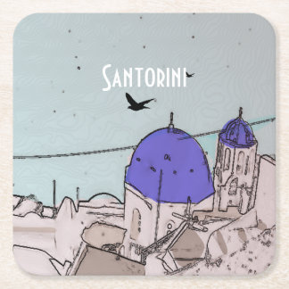 Santorini Pretty Greek Island Square Paper Coaster