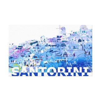 Santorini Skyline in Clean Scissor Cut Style Canvas Print