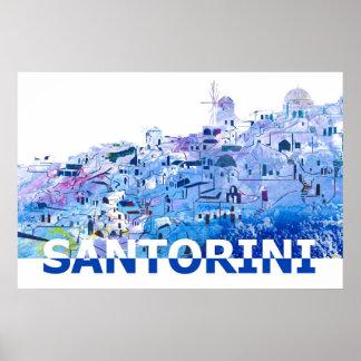 Santorini Skyline in Clean Scissor Cut Style Poster
