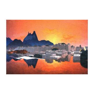 Santorini Sunrise Digital Painting Wrapped Canvas