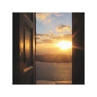 Santorini Sunset Wrapped Canvas