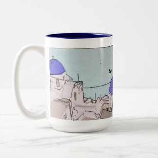 Santorini Wedding Memories Blue White Greek Houses Two-Tone Coffee Mug