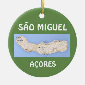 Sao Miguel Acores Map Christmas Ornament