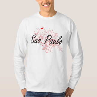 Sao Paulo Brazil City Artistic design with butterf T-Shirt