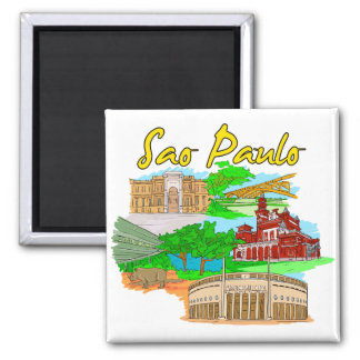 Sao Paulo - Brazil.png Square Magnet