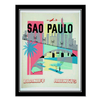 Sao Paulo Brazil Travel Vintage poster