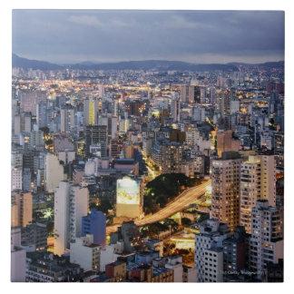 Sao Paulo Cityscape 2 Large Square Tile