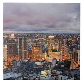 Sao Paulo Cityscape Large Square Tile