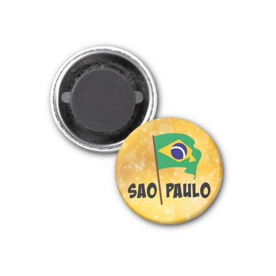 Sao Paulo, Flag of Brazil 3 Cm Round Magnet