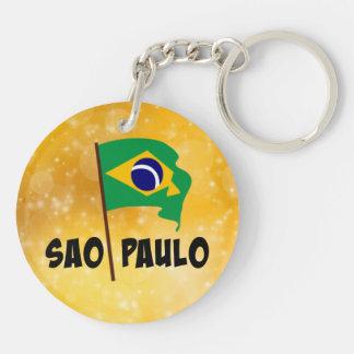 Sao Paulo, Flag of Brazil Double-Sided Round Acrylic Key Ring