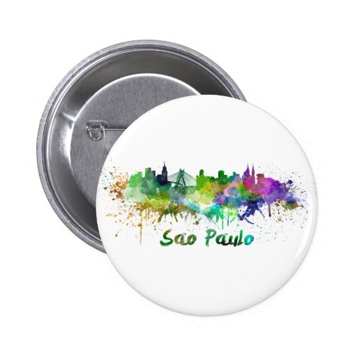 Sao Paulo skyline in watercolor Pinback Button