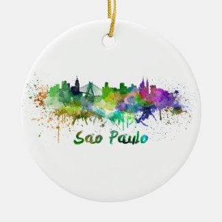 Sao Paulo skyline in watercolor Ceramic Ornament
