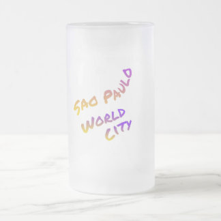 Sao Paulo world city, colorful text art Frosted Glass Beer Mug