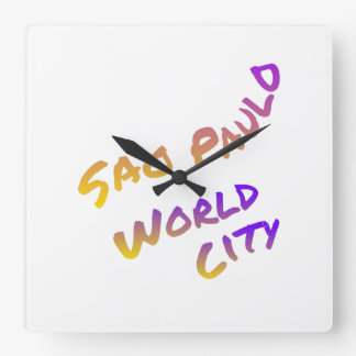 Sao Paulo world city, colorful text art Wallclocks