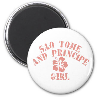 Sao Tome and Principe Pink Girl Magnet