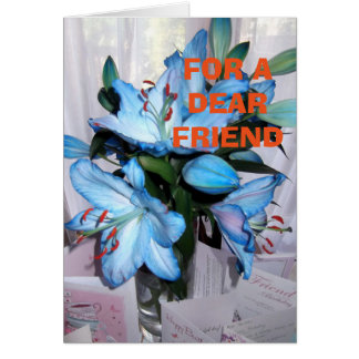 Saphire Blue Lily Blank greeting card