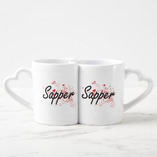 Sapper Artistic Job Design with Hearts Lovers Mug Sets