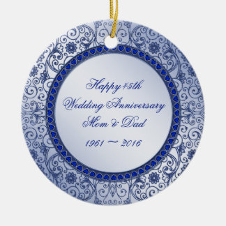 Sapphire 45th Wedding Anniversary Round Ornament