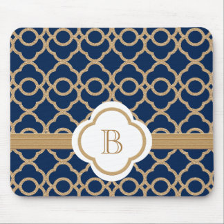 Sapphire and Gold Moroccan Monogrammed Mouse Pad
