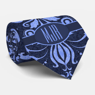 Sapphire and Periwinkle Blue Damask Monogram Tie
