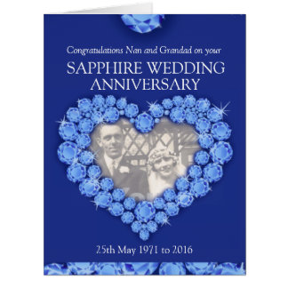 Sapphire anniversary grand parents photo card