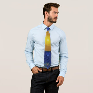 Sapphire Blue and Golden Yellow Lotus Sunflower Tie
