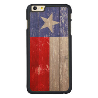 Sapphire Blue and Red Texas Flag Painted Old Wood Carved Maple iPhone 6 Plus Case