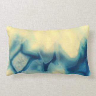 Sapphire Blue Cream Agate Geode Crystal Patterns Lumbar Cushion