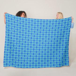 Sapphire Blue Cross & Diamond Abstract Pattern Fleece Blanket