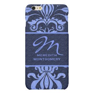 Sapphire Blue Damask Swirls | Monogrammed Case
