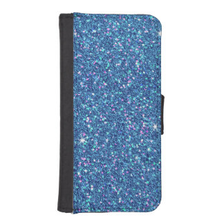 Sapphire Blue Glitter Effect Sparkle iPhone SE/5/5s Wallet Case