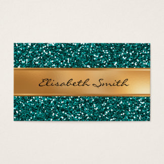 Sapphire Blue Glitter, Faux Gold Foil Business Card