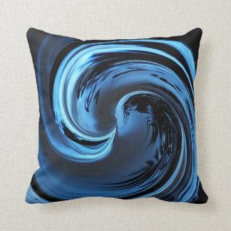 Sapphire Blue Island Wave Throw Pillow
