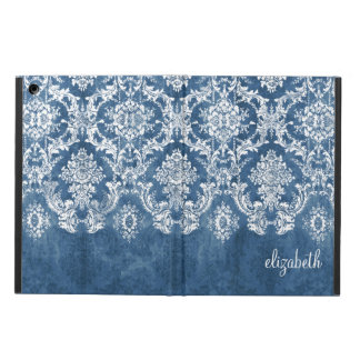 Sapphire Blue Vintage Damask Pattern and Name iPad Air Covers