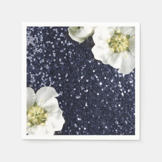Sapphire Deep Navy Jasmine Glitter Sequin Beach Disposable Serviette