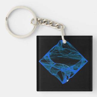 Sapphire Diamond Single-Sided Square Acrylic Keychain