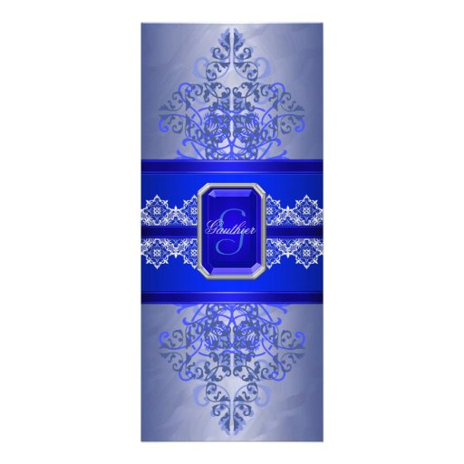 Sapphire Frost Monogram Ribbon Wedding Invitation