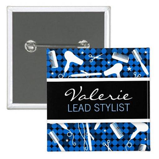 Sapphire Glam Hair Salon Name Badge Pinback Buttons