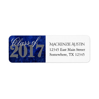 Sapphire Grad Announcement Blue Graduate Party Return Address Label