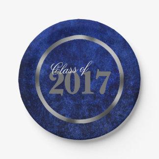 Sapphire Grad   Blue Royal Cobalt Azure Year Paper Plate