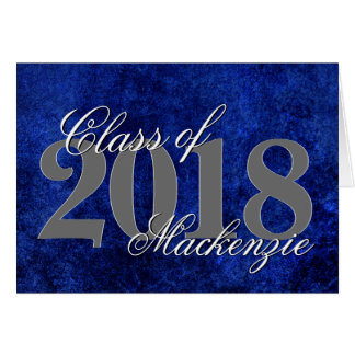 Sapphire Grad | Royal Cobalt Blue Script Greeting Card